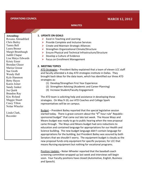LCC Operations Council Meeting Minutes March 12 2012