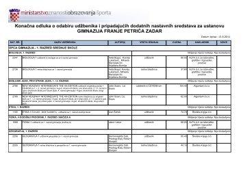 Popis udžbenika - Gimnazija Franje Petrića (MIOC)
