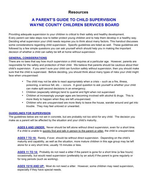 A Parent's Guide to Child Supervision Wayne County Children