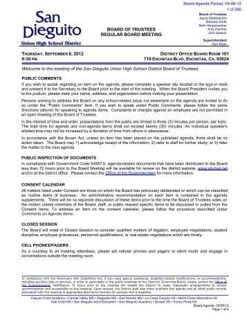 San Dieguito Union High School District INFORMATION ...