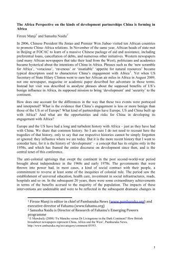 Firoze Manji - International Poverty Reduction Center in China