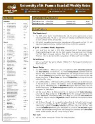 University of St Francis Baseball Weekly Notes