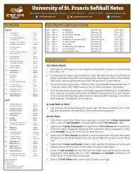 Weekly Notebook (PDF) - University of St. Francis Athletics