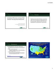Contextual Influences on Sexual Risk Behavior Among Rural Adolescents 1