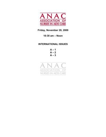 Friday, November 20, 2009 10:30 am - Association of Nurses in ...