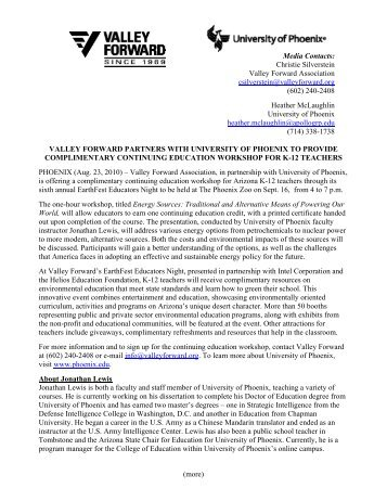 VALLEY FORWARD PARTNERS WITH UNIVERSITY OF PHOENIX ...