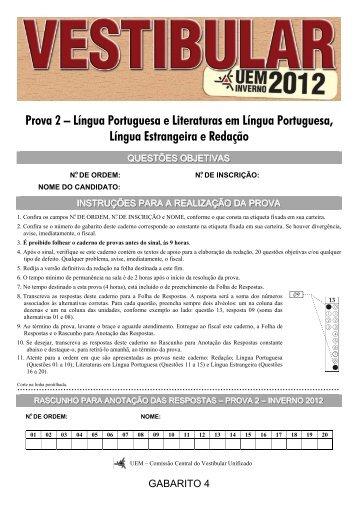 Prova 2 – Língua Portuguesa e Literaturas em Língua ... - Home CVU