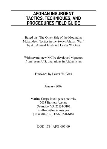 Afghan Insurgent Tactics Techniques and Procedures Field Guide