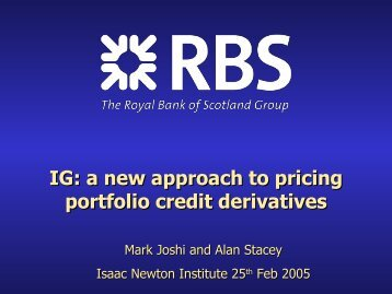IG a new approach to pricing portfolio credit derivatives