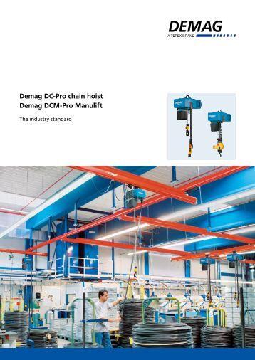 dc com chain hoist flyer pdf 522 2 kb demag cranes demag dc pro chain hoist demag dcm pro manulift