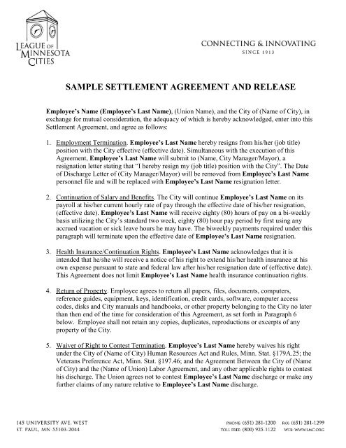 Sample Settlement Agreement And Release