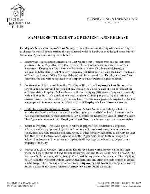 Settlement Agreement Sample from img.yumpu.com