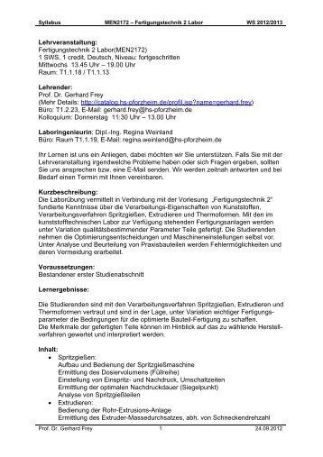 Lehrveranstaltung: Fertigungstechnik 2 Labor(MEN2172) 1 SWS, 1 ...