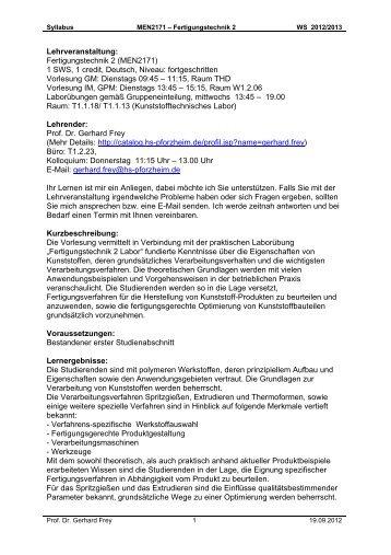 Lehrveranstaltung: Fertigungstechnik 2 (MEN2171) 1 SWS, 1 credit ...