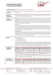 Produktinformationsblatt für Tarife Classic und Vario Spar, gültig - Lbs