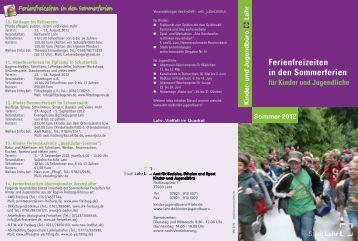 Ferienfreizeiten Sommer 2012 - Stadt Lahr