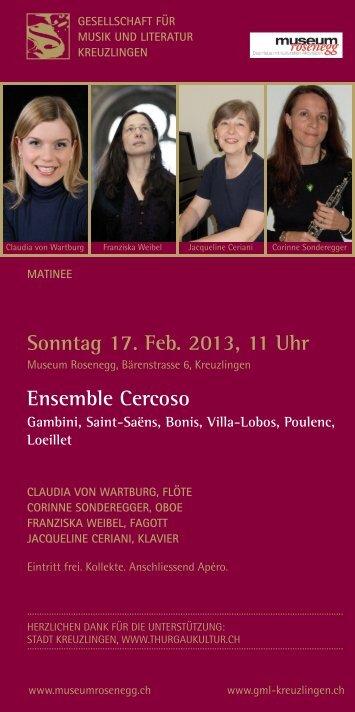 Sonntag 17 Feb 2013 11 Uhr Ensemble Cercoso