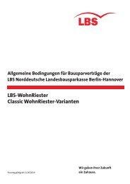 LBS-WohnRiester Classic WohnRiester-Varianten