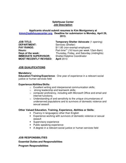 SafeHouse Center Job Description Applicants should submit