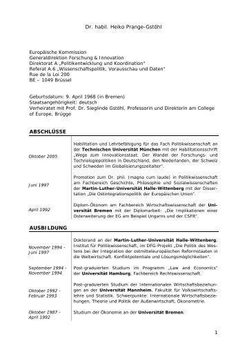 Lebenslauf Als Pdf Download Bei Sieglinde Gsthl Und Heiko Prange
