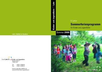 2009 Kinder- und Jugendbüro Sommerferienprogramm - Stadt Lahr