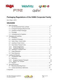 Packaging Regulations of the HABA Corporate Family