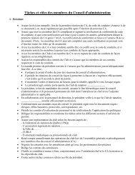 Tâches et rôles des membres du Conseil d'administration