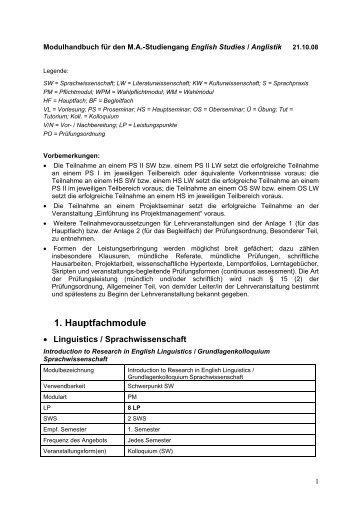 Modulhandbuch für die B - Anglistisches Seminar