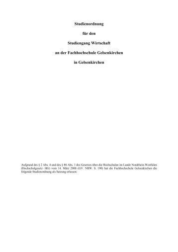 Studienordnung - Fachbereich Wirtschaft - Fachhochschule ...