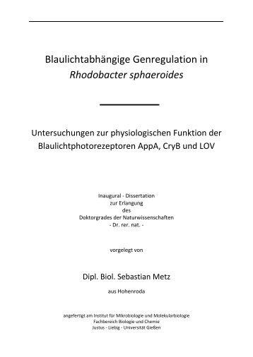 Rhodobacter sphaeroides - Zur Giessener Elektronischen Bibliothek ...