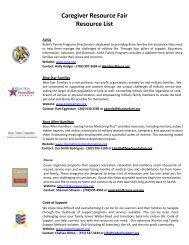 Caregiver Resource Fair Resource List