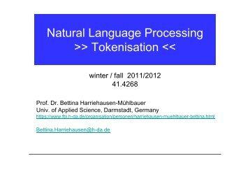 Natural Language Processing >> Tokenisation