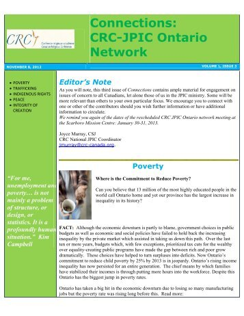 Connections CRC-JPIC Ontario Network