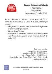 Ecoute Mémoire et Histoire « Pause Café » Programme Septembre - Octobre 2012