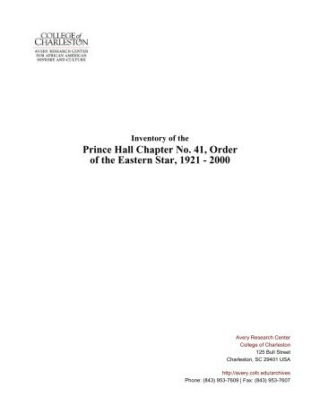 Prince Hall Chapter No 41 Order of the Eastern Star 1921 - 2000