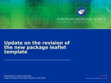Update on the revision of the new package leaflet template