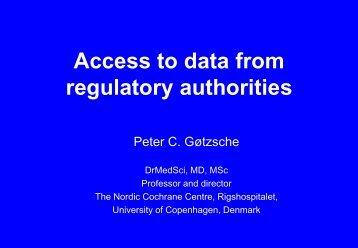 Access to data from regulatory authorities