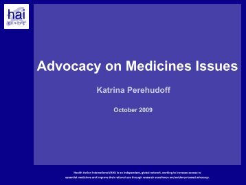 Advocacy on Medicines Issues