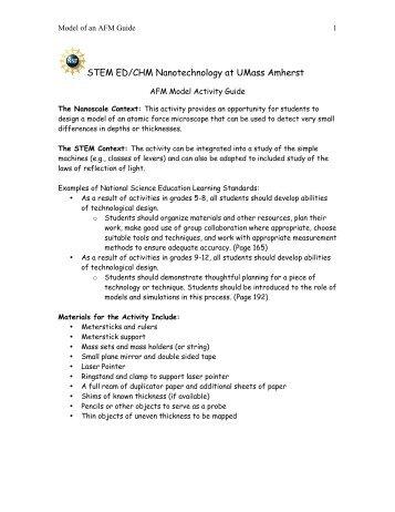 STEM ED/CHM Nanotechnology at UMass Amherst