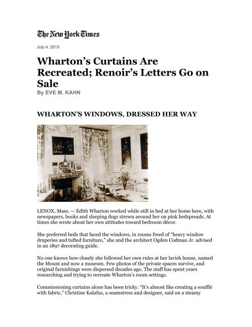 Wharton's Curtains Are Recreated Renoir's Letters Go on Sale