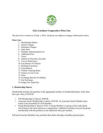 GO Carshare Cooperative Price List