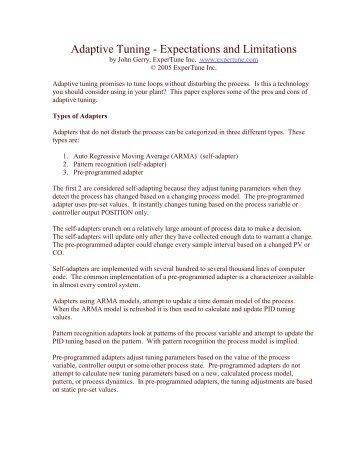 Adaptive Tuning - Expectations and Limitations