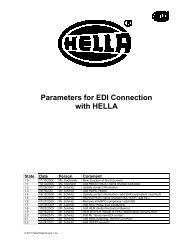 Parameters for EDI Connection with HELLA