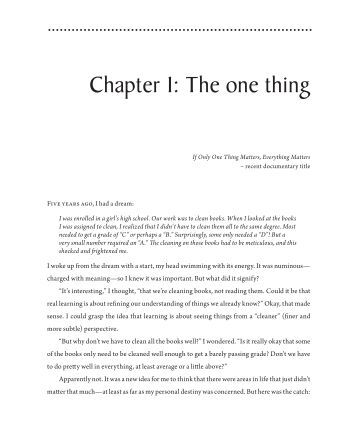 Chapter 1: The one thing - Enneagram Dimensions