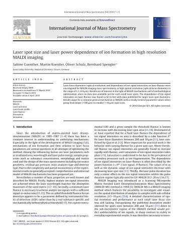 Laser spot size and laser power dependence of ion ... - AmbiProbe