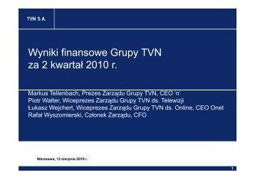 Wyniki finansowe Grupy TVN za 2 kwartał 2010 r
