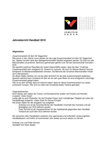 Jahresbericht Handball 2010