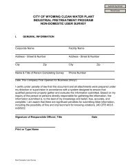 city of wyoming clean water plant industrial pretreatment program ...