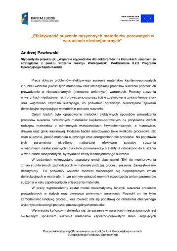 """warunkach niestacjonarnych"""" Andrzej Pawłowski"""