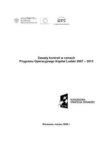 Programu Operacyjnego Kapitał Ludzki 2007 – 2013
